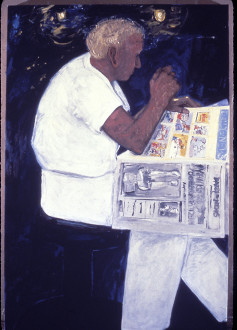 Dona Nelson - <i>Summer Man</i>, 1982. Oil on canvas, 79 x 58 in.