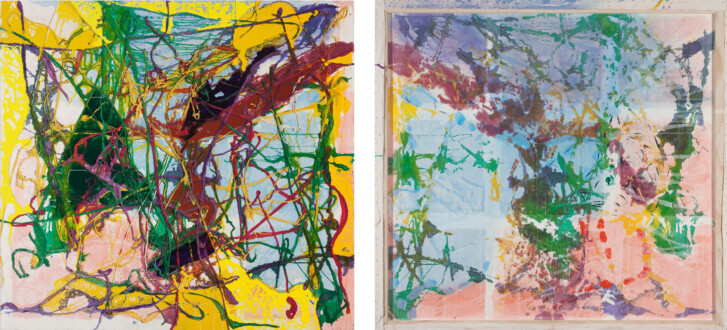 Dona Nelson – Double sided paintings - <i>Two Days in July</i>, 2010. Acrylic mediums and dyed cheesecloth on canvas, 79 × 78 in.