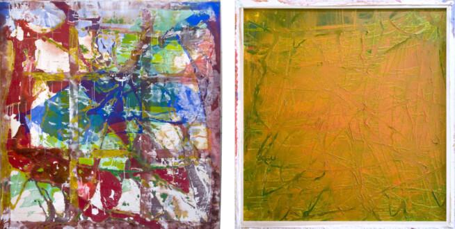 Dona Nelson – Double sided paintings - <i>Carnivally</i>, 2015. Acrylic and acrylic medium on canvas, 83 × 78 in.