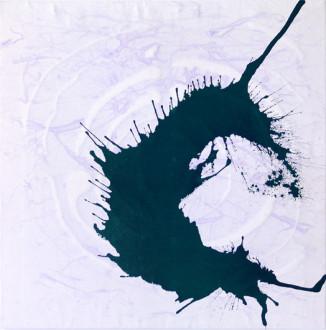 Phigor - <i>Violet Bridge</i>, 2014. Acrylic and acrylic medium on canvas, 48 x 48 in.