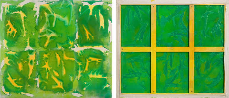 Dona Nelson – Double sided paintings - <i>Yellow Wood</i>, 2004. Acrylic on canvas, 69 × 80 in.