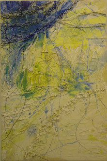 in situ - <i>My Home III</i>, 2000. Cheesecloth and acrylic mediums on canvas, 90 x 60 in.