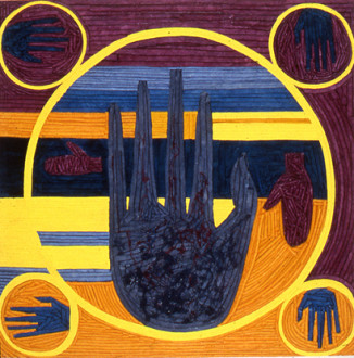 in situ - <i>The Palmist Reveals the Future of Painting</i>, 1992. Dyed canvas strips and acrylic mediums on canvas, 75 x 75 in.