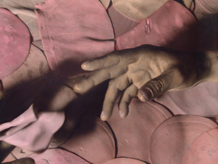 Elaine Stocki – The Palms - Meat Meet, 2013. Hand-tinted silver gelatin print, edition of 5 (+2 AP), 29.5 x 37.75 in. (detail)