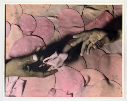 Elaine Stocki – The Palms - Meat Meet, 2013. Hand-tinted silver gelatin print, edition of 5 (+2 AP), 29.5 x 37.75 in.