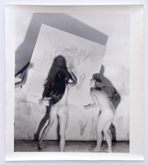 Elaine Stocki – The Palms - Nudes Moving an Abstract Painting 1, 2013. Silver gelatin print, part of triptych, edition of 5 (+2 AP), 25 x 20 in.