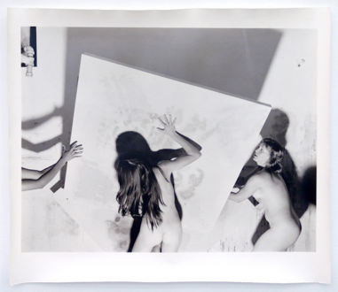 Elaine Stocki – The Palms - Nudes Moving an Abstract Painting 2, 2013. Silver gelatin print, part of triptych, edition of 5 (+2 AP), 20 x 25 in.