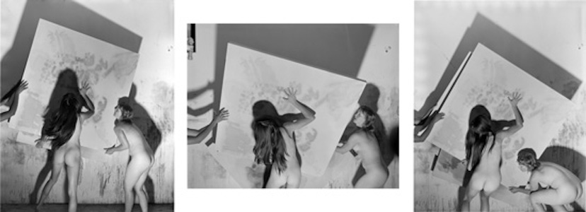 Elaine Stocki – The Palms - Nudes Moving an Abstract Painting, 2013. Silver gelatin print, triptych, edition of 5 (+2 AP), 25 x 20 in. each.