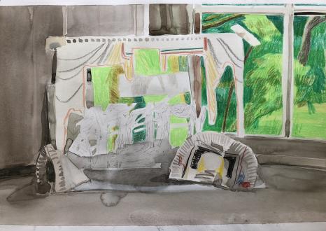 Spirited Densities – Ryan McLaughlin, Zach Nader, Ferdinand Penker, Emma Webster - Emma Webster, Untitled, 2017. Work on paper, 10 x 16 in.