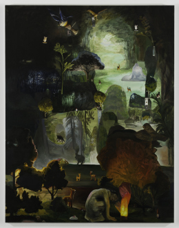 Spirited Densities – Ryan McLaughlin, Zach Nader, Ferdinand Penker, Emma Webster - Emma Webster, Landscape with five deer, six mushrooms, four owls, and a mouse, 2018. Oil on canvas, 108 x 84 in.