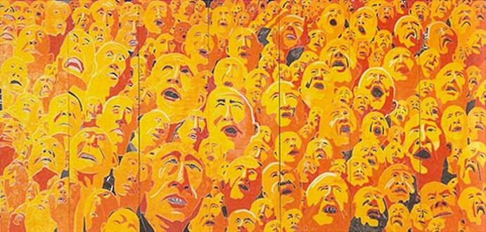 Fang Lijun – Woodcuts - Untitled, 2002/2003. Woodcut, edition of 8, 13 x 28 ft.