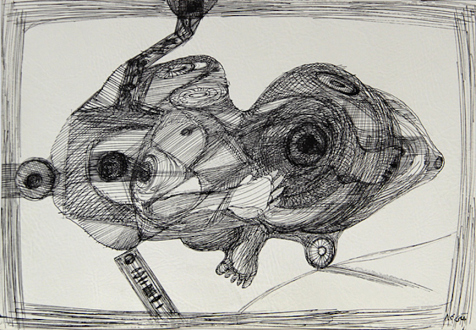 Looped and Layered – Contemporary Art from Tehran - Farshid Maleki Untitled 2, 2006. Pen and ink on paper, 13.5 x 19.5 in.