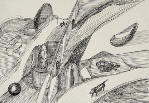 Looped and Layered – Contemporary Art from Tehran - Farshid Maleki Untitled 8, 2006. Pen and ink on paper, 13.5 x 19.5 in.