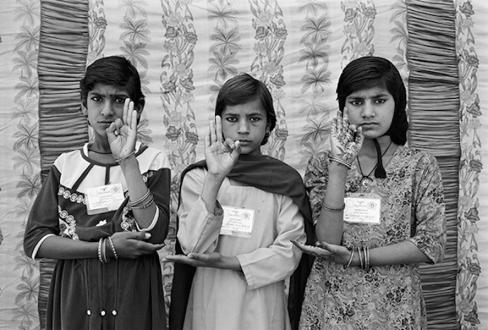 Gauri Gill – 'Balika Mela' and 'Jannat' - Sunita, Sita and Nirmala, 2003. Archival inkjet print, edition of 7 (+1 AP), 28 x 42 in.