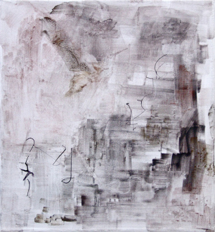 On Permanence and Change – Barry Gerson, Duy Hoang, Nandita Raman and Giovanna Sarti - Giovanna Sarti: Untitled (Chiare Ombre - Scure Riflessioni), 2013. Varnish, ink and metal dust on linen, 19.25 x 17.75 in.
