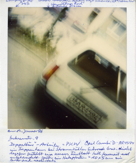 are you dead, yet? – Horst Ademeit, Jason Eberspeaker, Kahlil Robert Irving, Mira Schor - Horst Ademeit, untitled, 19.01.1996. Inscribed polaroid, 11 x 9 cm © Estate of Horst Ademeit / Delmes & Zander, Cologne