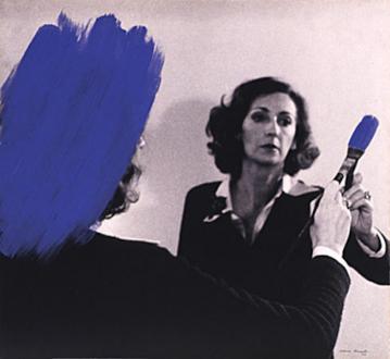 Pintura Habitada and other works, 1975 – present - Pintura Habitada, 1975. B/W photograph with blue acrylic paint, 18 x 22.5 in.