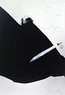 Pintura Habitada and other works, 1975 – present - Perdao, 1993. B/W photograph with white acrylic paint, 32.5 x 25 in.