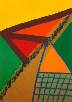 of certain instability – Whitney Claflin, Harriet Korman, Nolan Simon, Hans-Peter Thomas aka Bara - Harriet Korman, <i>Untitled</i>, 2007. Oil on canvas, 34 x 24 in.