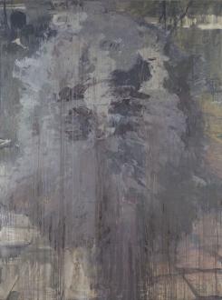 Hard Sauce – Hanneline Røgeberg - Bigger Half, Flat (General Assembly Pelt), 2012. Oil on canvas, 107 x 81 in.