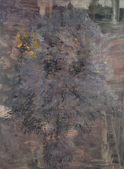 Hard Sauce – Hanneline Røgeberg - Bigger Half, Raised (General Assembly Pelt), 2013. Oil on canvas, 107 x 81 in.