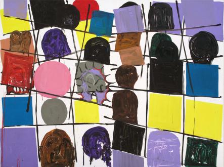of certain instability – Whitney Claflin, Harriet Korman, Nolan Simon, Hans-Peter Thomas aka Bara - Hans-Peter Thomas (Bara), <i>Grid Painting 2</i>, 2009. Oil on canvas, 72 x 96 in.