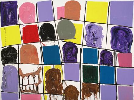 of certain instability – Whitney Claflin, Harriet Korman, Nolan Simon, Hans-Peter Thomas aka Bara - Hans-Peter Thomas (Bara), <i>Grid Painting 4</i>, 2009. Oil on canvas, 72 x 96 in.