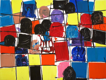 of certain instability – Whitney Claflin, Harriet Korman, Nolan Simon, Hans-Peter Thomas aka Bara - Hans-Peter Thomas (Bara), <i>Grid Painting 5</i>, 2009. Oil on canvas, 72 x 96 in.