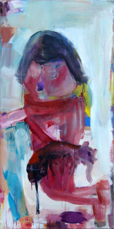 15 Years Thomas Erben - Haeri Yoo, Pet Holder, 2006. Mixed media on canvas, 48 x 24 in.