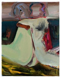 Haeri Yoo – Body Hoarding - Back Rub, 2010. Acrylic, oil on canvas, 14 x 11 in.