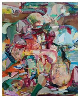 Haeri Yoo – Body Hoarding - Family Unit, 2010. Acrylic, pastel, spray paint, collage on canvas, 90 x 72 in.