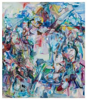 Haeri Yoo – Body Hoarding - Honeymoon Island, 2010. Acrylic, pastel, spray paint on canvas, 90 x 78 in.