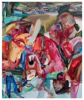 Haeri Yoo – Body Hoarding - Hurlyburly, 2010. Acrylic, spray paint on canvas, 72 x 60 in.