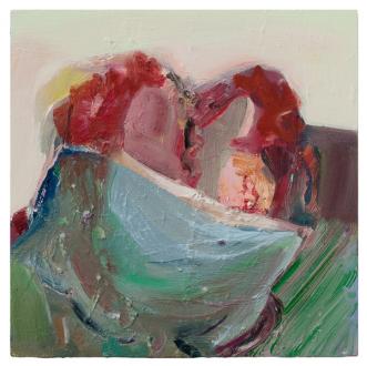 Haeri Yoo – Body Hoarding - Kiss, 2010. Oil on board, 12 x 12 in.