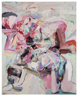 Haeri Yoo – Body Hoarding - Lazy Sitter, 2010. Acrylic, spray paint, collage on canvas, 90 x 72 in.
