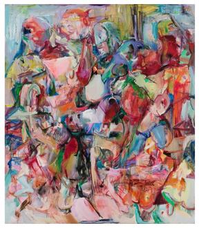 Haeri Yoo – Body Hoarding - Sunken Garden, 2010. Acrylic, pastel, spray paint on canvas, 90 x 78 in.