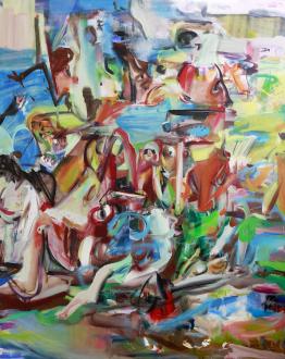 Haeri Yoo – Running Pit - Eyespot, 2012. Oil and spray paint on linen, 90 x 72 in.