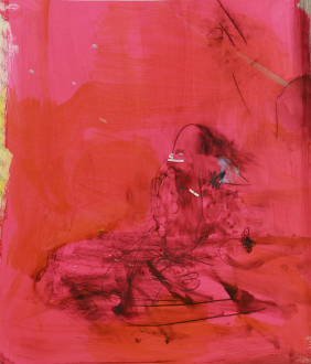 Haeri Yoo – Running Pit - Flower Power, 2012. Mixed media, collage on paper, 33.75 x 29.25 in.