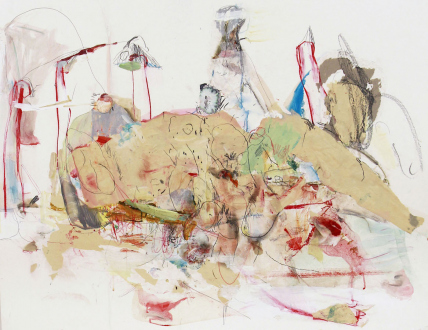 Haeri Yoo – Running Pit - Untitled, 2012. Mixed media, collage on paper, 32 x 40 in.