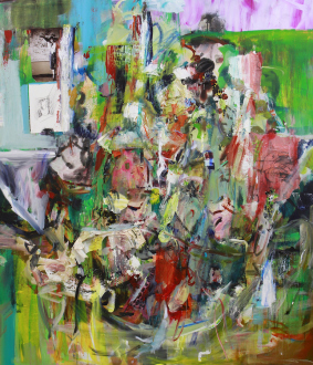 Haeri Yoo – Running Pit - Wall, 2012. Mixed media, collage on canvas, 90 x 72 in.