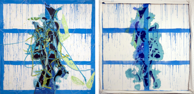 Dona Nelson – Double sided paintings - <i>Hair Conditioning</i>, 2011. Acrylic mediums and dyed cheesecloth on canvas, 82 × 82 in.