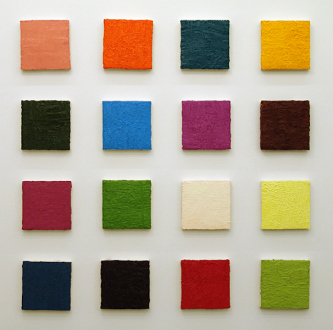 Handshakes – Elaine Stocki, Whitney Claflin, Ian Campbell - Ian Campbell, Colorfield 2, 2010. Oil on canvas (grid of 16), dimension variable (9 x 9 in each).