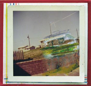 Handshakes – Elaine Stocki, Whitney Claflin, Ian Campbell - Ian Campbell, Drawing No. 11, 2010. Mixed media on found photograph mounted on found and cut book cover, 4 x 4 in.