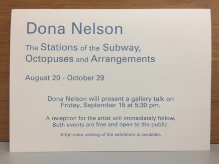 Dona Nelson: The Stations of the Subway, Octopuses and Arrangements, Weatherspoon Art Museum, Greensboro, NC -