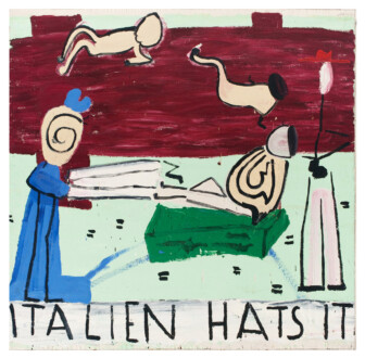Thomas Erben Gallery – 25 years - Rose Wylie, <i>Italien Hats</i>, 2003. Oil on canvas, 72 x 68 in. <br></<br><br></<br> We presented Rose Wylie's 2003 painting <i>Italien Hats</i> at the 2010 edition of NADA Miami Beach. Wylie's work made its first appearance at the gallery in <i>Animate Matter</i>, a group show in February/March 2010, which was then followed by her first, Roberta Smith reviewed - and almost sold out - US solo exhibition in October/November. In the July 9, 2010 issue of <i>The Guardian</i>, Germaine Greer introduced Wylie's work to a wider audience asking,