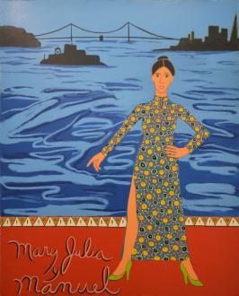 Painting Forward – Joan Brown, Charles Garabedian, Jackie Gendel, Haley Josephs, , Kyle Starver - Joan Brown, Mary Julia y Manuel, 1976, enamel on canvas, 95 x 77 1/4 in.