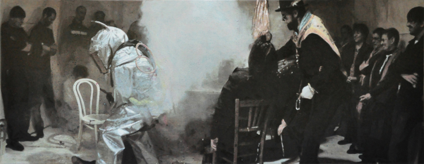 Paint as Figure – Kohei Akiba, Jonathan Delachaux, Jennifer Packer, Schandra Singh, Zheng Wei - Jonathan Delachaux: The Gettysburg Address, 2010. Acrylic on canvas, 27.5 x 71 in.