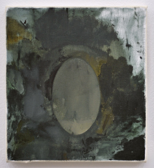 are you dead, yet? – Horst Ademeit, Jason Eberspeaker, Kahlil Robert Irving, Mira Schor - Jason Eberspeaker, Salt disc, 2017. Oil on Canvas 10 x 8 in.