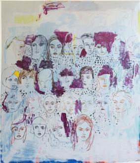 Painting Forward – Joan Brown, Charles Garabedian, Jackie Gendel, Haley Josephs, , Kyle Starver - Jackie Gendel, Sidewalk, 2015, oil on canvas, 84 x 72 in.