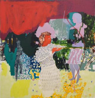 Painting Forward – Joan Brown, Charles Garabedian, Jackie Gendel, Haley Josephs, , Kyle Starver - Jackie Gendel, Archers, 2016, oil on canvas, 66 x 64 in.